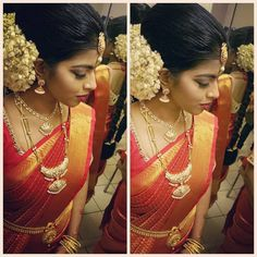 Image may contain: 2 people Gold Pendent, Bridal Makeover, Tamil Brides, Layered Chains, South Indian Jewellery, South Indian Bride, Indian Fashion, Wedding Bride, Saree