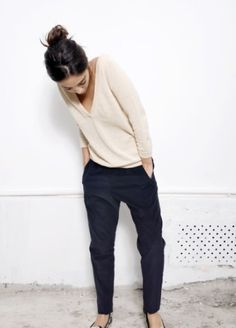 Sweater + Chinos. Comfy but cute!