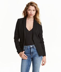 Fitted jersey jacket with narrow lapels, button at front, welt front pockets, and vent at back. Lined. Latest Fashion For Women, Fashion Online, Style Androgyne, New Outfits, Fashion Outfits, Estilo Fashion, Androgynous Fashion, Stylish Tops, Business Dresses