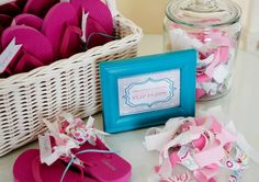 Pedicure Station: Emma's guests decorated their own pair of Old Navy flip-flops with pink and blue fabric ribbon strips, perfect to wear postpedicure. Source: Allyson Crozier for Sweet Threads Clothing