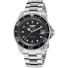 Invicta 'Pro Diver' Automatic Stainless Steel Watch, Color:Silver-Toned (Model: ILE8926OBASYB) >>> Click image to review more details.