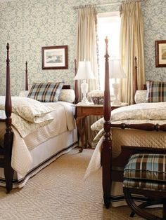 Tips for Turning Your Guest Bedroom Into a Retreat Thibaut traditional guest bedroom with twin beds. Love the warm feeling I get looking at these colors.Thibaut traditional guest bedroom with twin beds. Love the warm feeling I get looking at these colors. English Country Style, French Country, French Cottage, English Country Decorating, French Style, Guest Bedrooms, French Bedrooms, Blue Bedrooms, Cottage Bedrooms