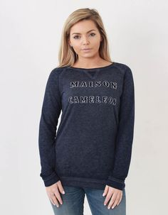 Become a Karma Chameleon in the Maison Scotch caméléon burn out sweatshirt! Karma Chameleon, Womens Clearance, Off Duty, Graphic Sweatshirt, Navy, Logo, Woman, Sweatshirts, Casual