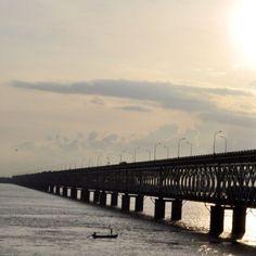 Beautiful Indian countryside. Godavari railway bridge in Rajahmundry, Andhra Pradesh.