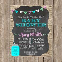 Chalkboard, Burlap & Mason Jar Baby Shower Invitation - Printable - Digital File-DIY Baby Shower Invite