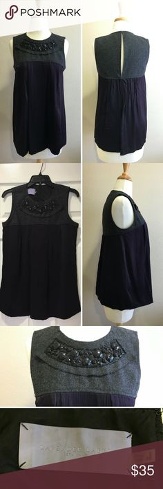 Vera Wang Lavender Label Top 2/36 Gently Loved~ 100% Silk baby doll with wool blend top and beaded neck detail, hook & eye closure at back neck with slits.  Size-2/36 Vera Wang Tops Blouses