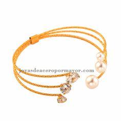 adjustable elegantes pulseras con perlas y cristales de acero inoxidable para chicas