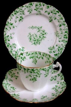 """RARE ANTIQUE SHELLEY LATE FOLEY SCALLOPED IVY TRIO CUP SAUCER PLATE. """"Repinned by Keva xo""""."""