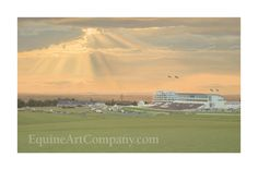 A beautiful limited edition print depicting evening racing on Epsom Downs, the home of the Derby. An ideal wedding gift for anyone getting married at Epsom Racecourse. Evening Sky, Horse Art, Limited Edition Prints, Breeze, Fingers, Getting Married, Flags, Distance, Wedding Gifts