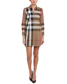 Burberry Check Cotton Shirt Dress In Taupe Castor Oil For Hair Growth, Burberry Dress, Cotton Shirt Dress, Burberry Women, Boutique, Outfit Goals, Dress Codes, Everyday Outfits, Dresses For Work