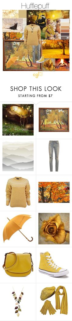 """""""Hufflepuff"""" by cgl13 ❤ liked on Polyvore featuring York Wallcoverings, Yves Saint Laurent, Lowie, Hermès, Coach, Converse, Jacmel, harrypotter, hogwarts and magic"""