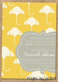 Modern Umbrella - Yellow and Gray Baby Shower/Sprinkle Invitations