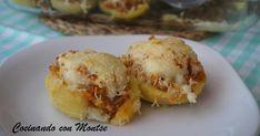 Patatas rellenas de carne picada y queso