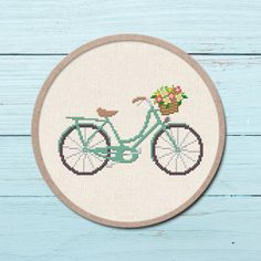 A pretty teal bicycle counted cross stitch pattern to personalize your belongings or adorn on your walls. They also make fantastic gifts for your beloved ones. aida Finished Design Size on 14 Cross Stitch Art, Simple Cross Stitch, Cross Stitching, Embroidery Leaf, Cross Stitch Embroidery, Embroidery Patterns, Etsy Embroidery, Modern Cross Stitch Patterns, Counted Cross Stitch Patterns