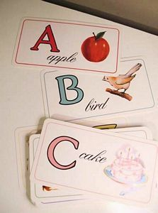 alphabet flashcards with #vintage illustrations