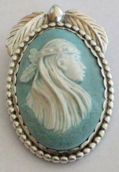 Molded Vintage Native American Sterling, Silver Cameo Pendant/Brooch by Carolyn Pollack.