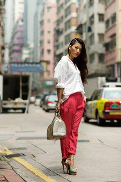 Red pants, pastel heels