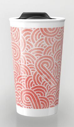 """""""Peach echo and white zentangles"""" Travel Mug by Savousepate on Society6 #travelmug #pattern #abstract #zentangles #doodles #scrolls #spirals #pastel #pink #coral #salmon #peachecho #rosequartz #white #pantonecolors2016"""