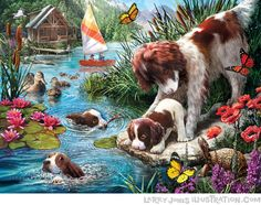 Shop Bits and Pieces jigsaw puzzle store for kids and adults! Dog mom and duck mom try and teach their puppies and ducklings how to swim 500 large piece jigsaw puzzle by Larry Jones measures 18 x Cross Paintings, Dog Paintings, Mosaic Diy, Swim Lessons, Paint By Number, Pet Birds, New Art, Jigsaw Puzzles, Dog Puzzles