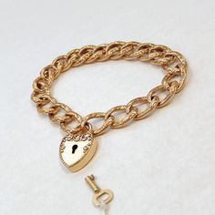 #YearsAfter F&B Victorian PADLOCK Bracelet HEART Lock KEY Charm Fancy Scrollwork Curb Chain, Rare Antique Womens Jewelry c.1890's, Gift for Her #victorianbracelet #padlockbracelet #gatebracelet #heartlock #victorianjewelry #antiquejewelry #rosegold #fosterandbailey