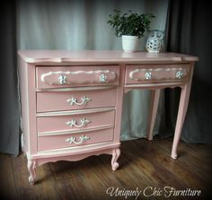 Light Coral French Provincial Desk by suezcues on Etsy