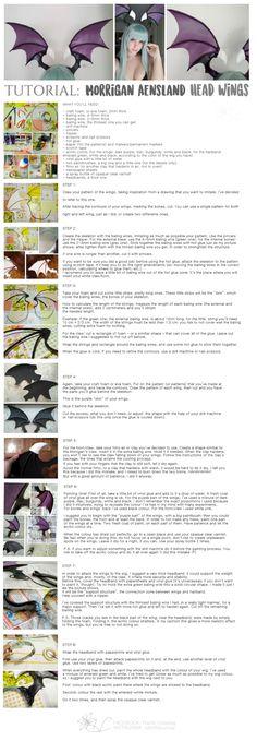 TUTORIAL Morrigan Aensland: Head Wings by rebirthjourney - Cosplay - Costume Cosplay Tutorial, Cosplay Diy, Halloween Cosplay, Cosplay Costumes, Cosplay Ideas, Morrigan Cosplay, Z Craft, Diy Wings, Dragon Costume