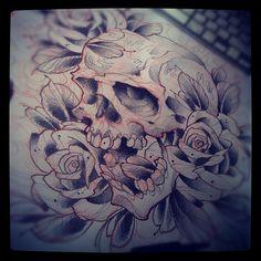 #tattoo #sketch #skull #roses #flowers