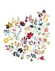"""Watercolor Illustration Painting Print of birds and flowers title """"Wild Garden (kaleidoscopic)"""". $20.00, via Etsy."""