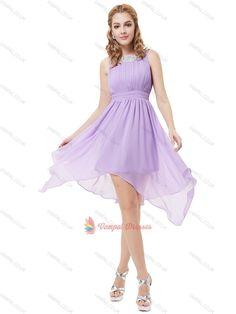 80.00$  Buy here - http://vijxo.justgood.pw/vig/item.php?t=jhosit955176 - Lilac Asymmetrical Short Lace Neckline Chiffon Cocktail Dresses For Junior