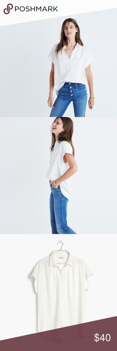 {Madewell} Central Shirt You asked for it—our feminine take on a slightly oversized shirt returns, this time in a drapey white weave. Effortless and cool with a soft silhouette and easy, open sleeves.  Worn once   c o n t e n t +  Cotton | Modal rayon   c o l o r + pure white   m e a s u r e m e n t s ✂️ +    p a i r  w i t h 🌙  + AG Farrah Skinny  + Chanel Ankle Boots  💵 bundle for a discount Madewell Tops