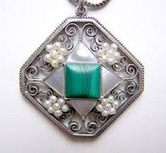 Josef Hoffmann. Silver, malachite and pearl pendant.