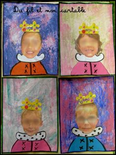 Self-portrait craft for Kings & Queens theme - fully drawn or insert face photos Preschool Painting, Craft Activities For Kids, Painting For Kids, Preschool Crafts, Art For Kids, Kindergarten Projects, Kindergarten Themes, Classroom Art Projects, Reine Art