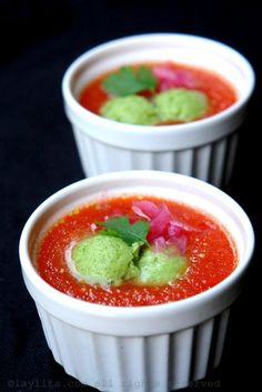 Spanish gazpacho with avocado cucumber sorbet