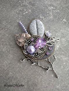 Luxury silver&purple brooch