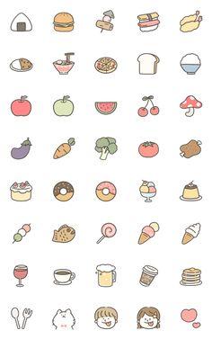 Delicious foods emoji – LINE อิโมจิ Kawaii Doodles, Kawaii Drawings, Easy Doodle Art, Small Drawings, Easy Drawings, Sticker Art, Aesthetic Stickers, Kawaii Stickers, Print Stickers