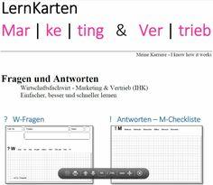 LernKarten - Wirtschaftsfachwirt Marketing & Vertrieb (IHK) Poster App, Marketing, Ebay, Author, Reading, Learning Methods, Note Cards, Project Management
