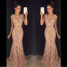 Charming Prom Dress,Elegant V Neck Lace Prom Dresses,Appliques