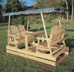 Rustic Natural Cedar Deluxe Garden Double Glider