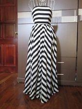 GORGEOUS BLACK AND WHITE STRIPED MAXI LONG DRESS SIZE XXS or XS