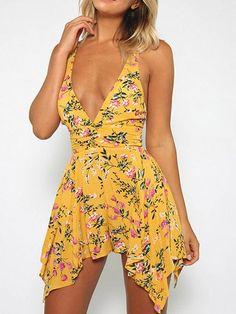 1ea82e46fa Deep V-neck Irregular Mini Dress - WealFeel Latest Shoes
