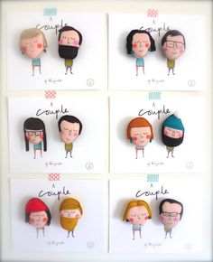 This listing is for one set of custom couple magnets. This will include 2 felt magnets measuring approx H7cm x W6cm. They will come on a