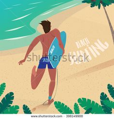 View from the back on healthy man in blue drag suit running on the beach holding cyan surfboard under his arm - Leisure or sport concept. Vector illustration