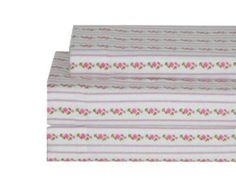 New 4pc LAURA ASHLEY PAIGE Floral Wallpaper Stripe Flannel QUEEN SHEET SET