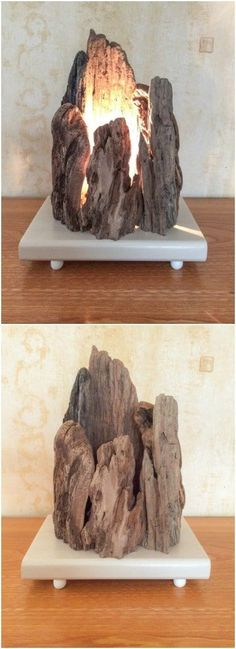 "Floating Wooden Lamp with Rock Shape - Table Lamps - Lamp composed of different pieces of sharp-edged driftwood in the form of ""rocks"" on a wooden base painted beige color resting on four small white wooden feet. More info here #LampBedroom"