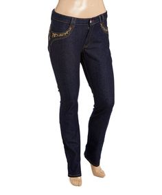 Another great find on #zulily! Dark Indigo Embroidered Bootcut Jeans - Plus #zulilyfinds