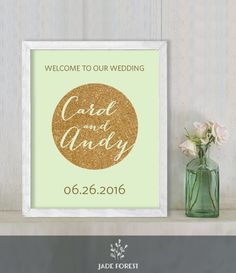 ♥ CLICK NOW TO SAVE 10% (Coupon code: PIN10) ▷ Gold Sparkle Wedding Welcome Sign DIY // Glitter Circle on Green // Printable Poster PDF  // Welcome To Our Wedding  ▷ Customized Sign by JadeForestDesign on Etsy