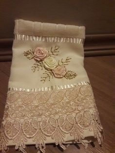 Applique in beautiful blush with hand-crafted silk organza flowers Ribbon Embroidery Tutorial, Silk Ribbon Embroidery, Hand Embroidery, Embroidery Ideas, Organza Flowers, Lace Flowers, Silk Organza, Egyptian Cotton Duvet Cover, Bathroom Towel Decor