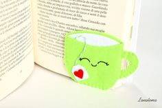 Corner bookmark, green cup with tea bag, felt bookmark, relaxing readings