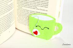 Corner bookmark, green cup with tea bag, felt bookmark, relaxing readings