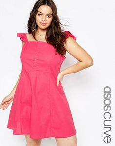 ASOS CURVE Button Front Sundress With Frill Sleeve